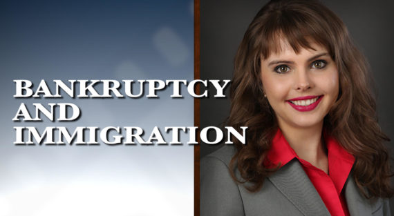 Graphic of Minnesota Bankruptcy Attorney Anastasia Kazmina with the words Bankruptcy and Immigration