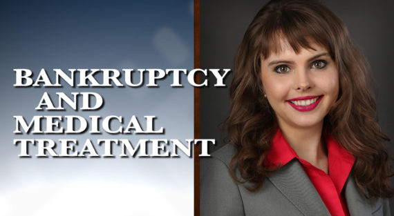 Graphic of Minnesota Bankruptcy Attorney Anastasia Kazmina with the words Bankruptcy and Medical Treatment