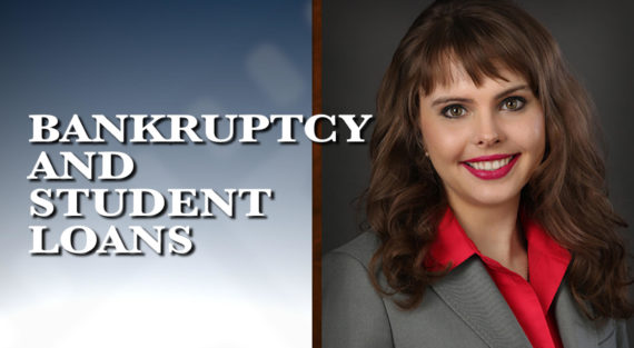 Graphic of Minnesota Bankruptcy Attorney Anastasia Kazmina with the words Bankruptcy and Student Loans