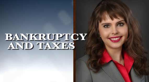 Graphic of Minnesota Bankruptcy Attorney Anastasia Kazmina with the words Bankruptcy and Taxes