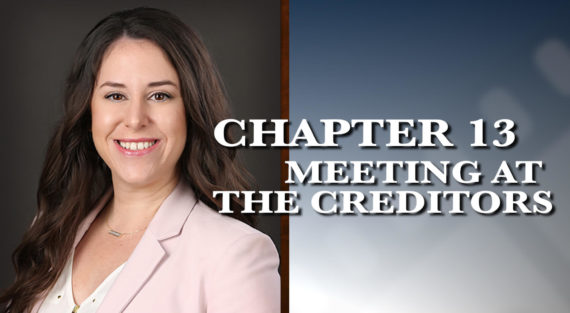 Graphic of Minnesota Bankruptcy Attorney Alyssa George with the words Chapter 13 Meeting at the Creditors