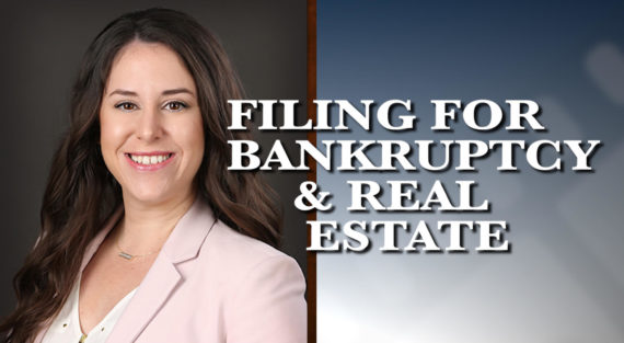 Graphic of Minnesota Bankruptcy Attorney Alyssa George with the words Filing for Bankruptcy and Real Estate
