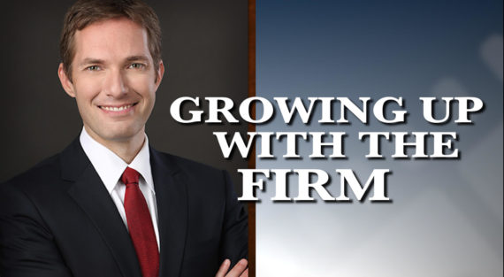 Graphic of Minnesota Bankruptcy Attorney Andrew Walker with the words What Is It Like Growing Up With The Firm
