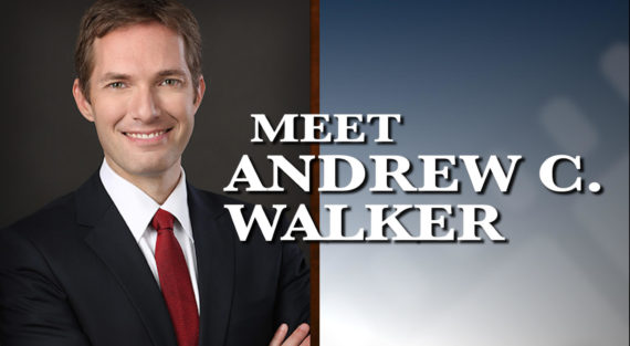 Graphic of Minnesota Bankruptcy Attorney Andrew Walker with the words Meet Andrew Walker