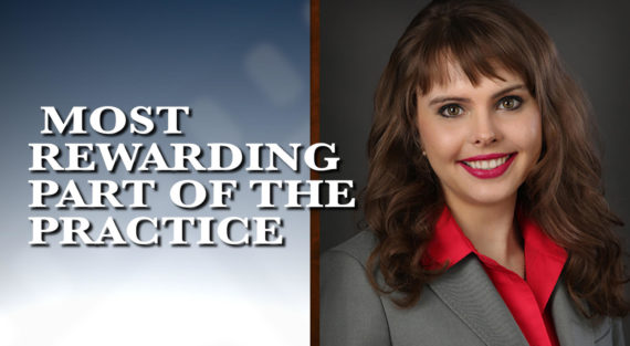 Graphic of Minnesota Bankruptcy Attorney Anastasia Kazmina with the words Most Rewarding Part of the Practice