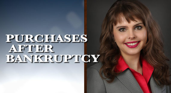Graphic of Minnesota Bankruptcy Attorney Anastasia Kazmina with the words Purchases after Bankruptcy