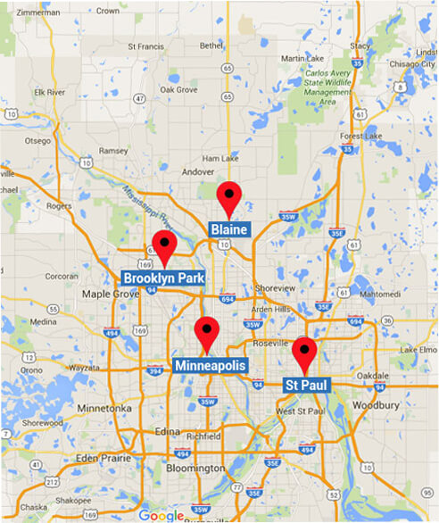 Map view of Walker and Walker Minnesota Bankruptcy Attorneys Offices in Minneapolis, St. Paul, Blaine and Brooklyn Park