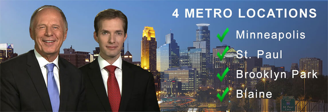 Graphic comprising Curtis Walker and Andrew Walker in front of Minneapolis skyline, mentioning their offices in Minneapolis, St. Paul, Brooklyn Park and Blaine
