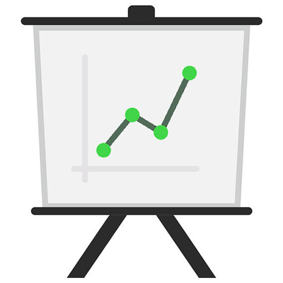 Graphic of a cartoon easel with a graph on it showing sample growth